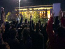 Thousands of people protesting in Bucharest stock footage