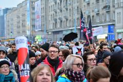 Thousands of people protests in Warsaw. Warsaw,Poland. 23 March 2018. Thousands of people protests in Warsaw against the conservative governments latest attempt stock images