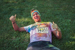 Thousands of people take part in the Color Run 2014 in Milan, Italy Royalty Free Stock Image