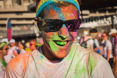 Thousands of people take part in the Color Run 2014 in Milan, Italy Royalty Free Stock Photography