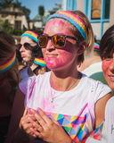 Thousands of people take part in the Color Run 2014 in Milan, Italy Royalty Free Stock Images