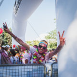 Thousands of people take part in the Color Run 2014 in Milan, Italy Royalty Free Stock Photos