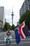 Thousands Protest Against TPPA in Central Auckland New Zealand Royalty Free Stock Image