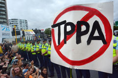 Thousands Protest Against TPPA in Central Auckland New Zealand Royalty Free Stock Photos