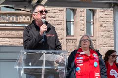 Thousands Protest Education Cuts by the Conservative Government. Toronto, Ontario, Canada-April 6, 2019:Chris Buckley speech.  Thousands of people including lot royalty free stock photos