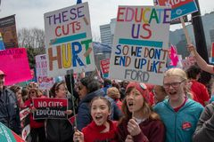 Thousands Protest Education Cuts by the Conservative Government royalty free stock photo