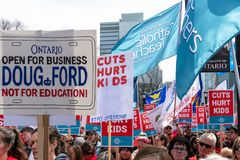 Thousands Protest Education Cuts by the Conservative Government. Toronto, Ontario, Canada-April 6, 2019: Thousands of people including lot of children protests stock photos