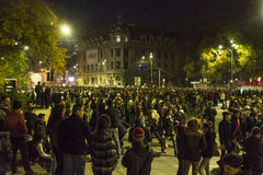 Thousands protesters in Bucharest Stock Photography