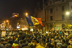 Thousands protesters in Bucharest Royalty Free Stock Images
