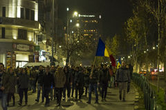 Thousands protesters in Bucharest Stock Photos