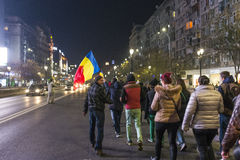 Thousands protesters in Bucharest Stock Image
