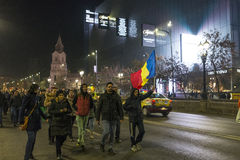 Thousands protesters in Bucharest Royalty Free Stock Photography