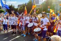 Thousands of protesters have rallied in cities across Romania Royalty Free Stock Photo