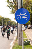 Thousands protesting for bike lanes in Bucharest Stock Photography