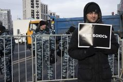 Thousands rally in Moscow to commemorate slain opposition leader before election. Moscow, RUSSIA - FEBRUARY 26, 2018: Thousands rally in Moscow to commemorate Stock Image