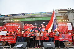 Thousands of Red Shirts Protest in Bangkok. Around 20,000 Red shirt protesters gather at a rally in the city centre on May 19, 2013 in Bangkok, Thailand. The Stock Photo