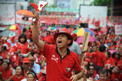 Thousands of Red Shirts Protest in Bangkok. Around 20,000 Red shirt protesters gather at a rally in the city centre on May 19, 2013 in Bangkok, Thailand. The Stock Image