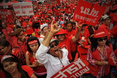 Thousands of Red Shirts Protest in Bangkok Royalty Free Stock Photos