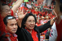 Thousands of Red Shirts Protest in Bangkok Stock Photography