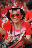 Thousands of Red Shirts Protest in Bangkok. A protester joins a 20,000 strong red shirt rally in the city centre on May 19, 2013 in Bangkok, Thailand. The Stock Images