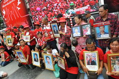 Thousands of Red Shirts Protest in Bangkok. Relatives of red shirt protesters killed during the military's 2010 crackdown on anti-government protests gather at a Royalty Free Stock Photography
