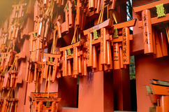 Thousands of small vermilion torii gates at Fushimi Inari shrine. Royalty Free Stock Photography