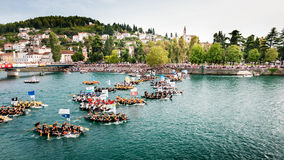 Thousands of spectators watching the start of the traditional boat marathon in Metkovic, Croatia Royalty Free Stock Photography