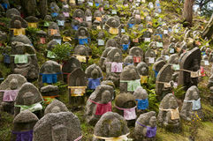 Thousands statues of Jizo, the guardian monk Royalty Free Stock Image
