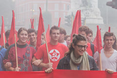 Thousands of students march in the city streets in Milan, Italy Royalty Free Stock Photography