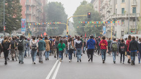 Thousands of students march in the city streets in Milan, Italy Royalty Free Stock Photo