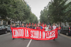 Thousands of students march in the city streets in Milan, Italy Royalty Free Stock Photos