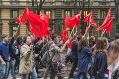 Thousands of students march in the city streets in Milan, Italy Stock Photo