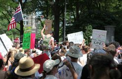 Protest March in DC. Thousands took to the streets of Washington, DC for the Families Belong Together March to protest the separation of families at the border stock image