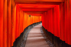 Thousands of torii gates at Fushimi Inari Shrine. In Kyoto, Japan Stock Photo