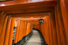 Thousands of torii gates, Fushimi Inari Shrine, Kyoto, Japan. At the very back of the Fushimi Inari shrine`s main grounds is the entrance to the torii gate Royalty Free Stock Photography