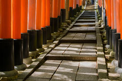 Thousands of Torii with stone steps Stock Photos