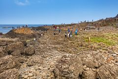 Thousands of tourists visiting Giant`s Causeway in County Antrim of Northern Ireland. A World Heritage Site by UNESCO containing about 40000 interlocking royalty free stock images