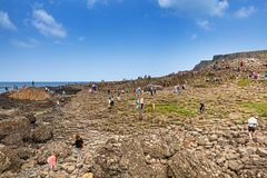 Thousands of tourists visiting Giant`s Causeway in County Antrim of Northern Ireland. A World Heritage Site by UNESCO containing about 40000 interlocking stock photo