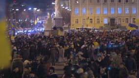 Thousands of Ukrainians assemble together with national flags to voice opinion