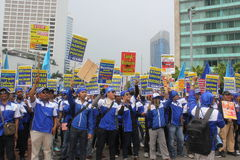 Thousands of workers marched Labor Day in Jakarta Stock Photo
