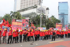 Thousands of workers marched Labor Day in Jakarta Royalty Free Stock Images