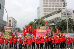 Thousands of workers marched Labor Day in Jakarta Stock Image