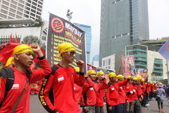Thousands of workers marched Labor Day in Jakarta Royalty Free Stock Photo