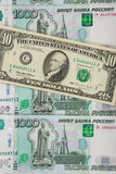 Thousandths rachunków Rosyjski rubel zakrywający dolar Obraz Royalty Free