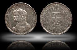 Thousend 1000 Carlos 1898 e Amelia minted reis da moeda de prata de Portugal imagens de stock royalty free