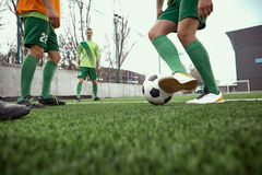 Thq legs of soccer football player Royalty Free Stock Image