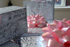 The gifts. Wedding gifts await the bride and groom Royalty Free Stock Photos