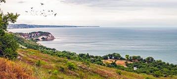 Thracian cliffs. And birds, panoramic view Stock Photos