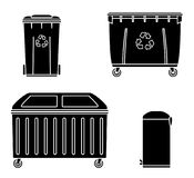 Thrash and recycling can. Garbage container set. Wheeled dumpster. Vector illustration Stock Photos