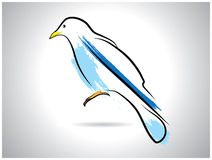 Thrash style bird drawing. Blue thrash style bird drawing Stock Photography